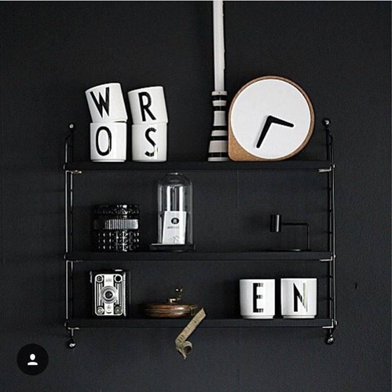 String Pocket wandkast zwart gebeitst es-zwart 60x15x50