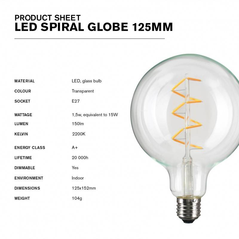 NUD Collection Lampe LED Spiral 125mm E27