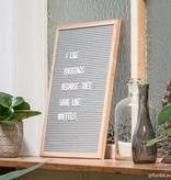 Funkk Tableau à lettres L feutre gris cadre chêne (incl lettres)