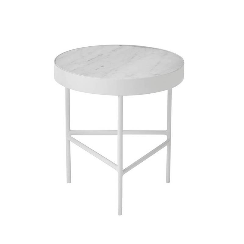 Fermliving Table d'appoint en marbre blanc