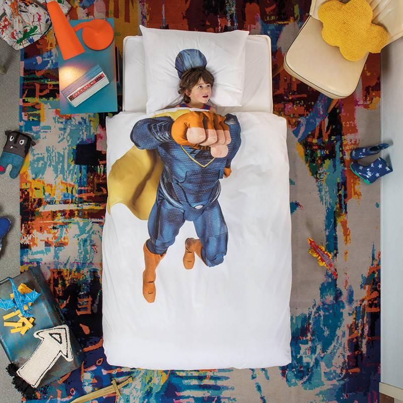 SNURK beddengoed Superheld dekbedovertrek blauw
