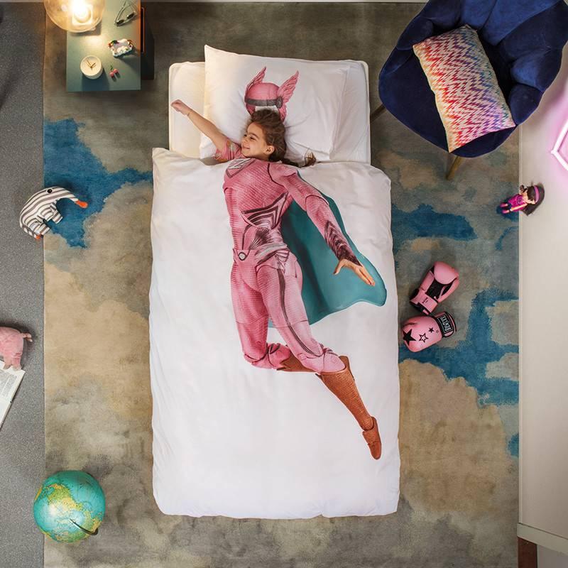 SNURK beddengoed Superheld dekbedovertrek roze 1p