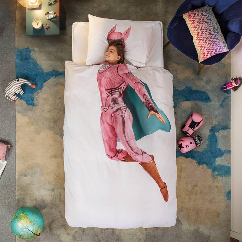 SNURK beddengoed Housse de couette Superhero rose