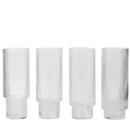 Fermliving Ripple long drinks glasses clear (set van 4)