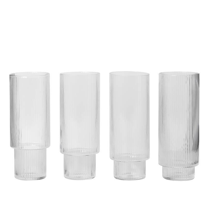 Fermliving Ripple long drinks glasses (set van 4)