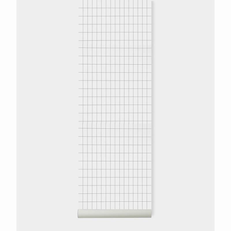Fermliving Papier peint grid noir/ blanc