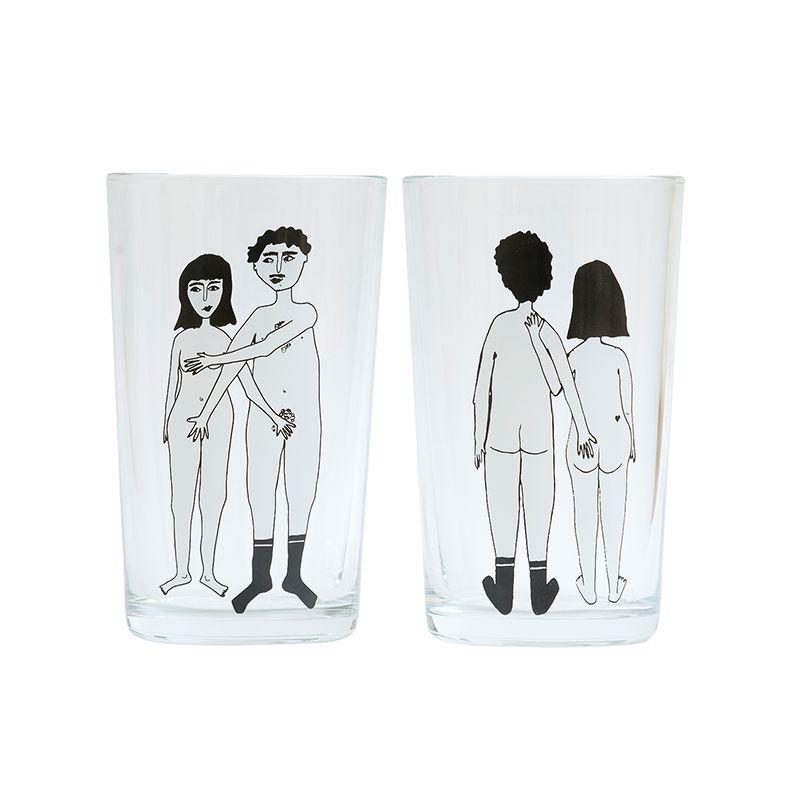 helen b Set van 2 glazen 'naked couple'