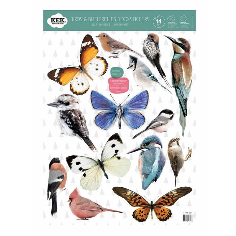 KEK Amsterdam Autocollants Birds & butterflies set de 14