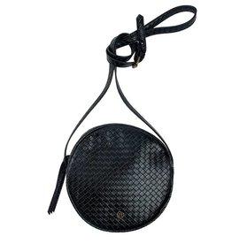 Zusss Ronde tas zwart gewafeld
