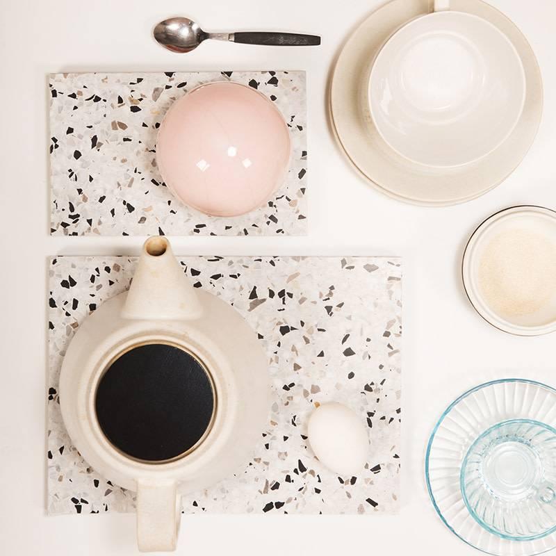OK Design Confetti Black & White terrazzo plank