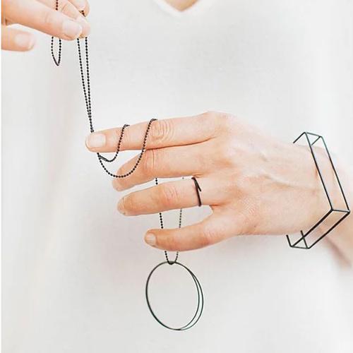 Studio Peloeze Double circle zwart ketting