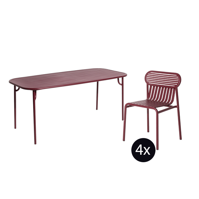 Petite Friture Week-end set de jardin 180x85 table + 4 chaises