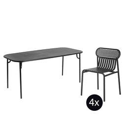 Petite Friture Tuinset 180x75 tafel + 4 stoelen Week-end