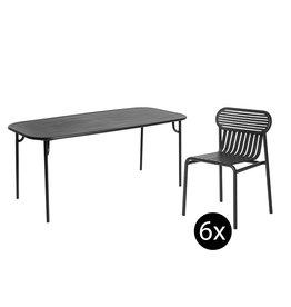 Petite Friture Tuinset 220x75 tafel + 6 stoelen Week-end