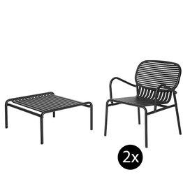 Petite Friture Set de jardin 60x69 table de salon + 2 fauteuils Week-end