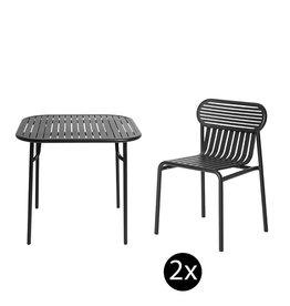 Petite Friture Set de jardin 85x85 table + 2 chairs Week-end