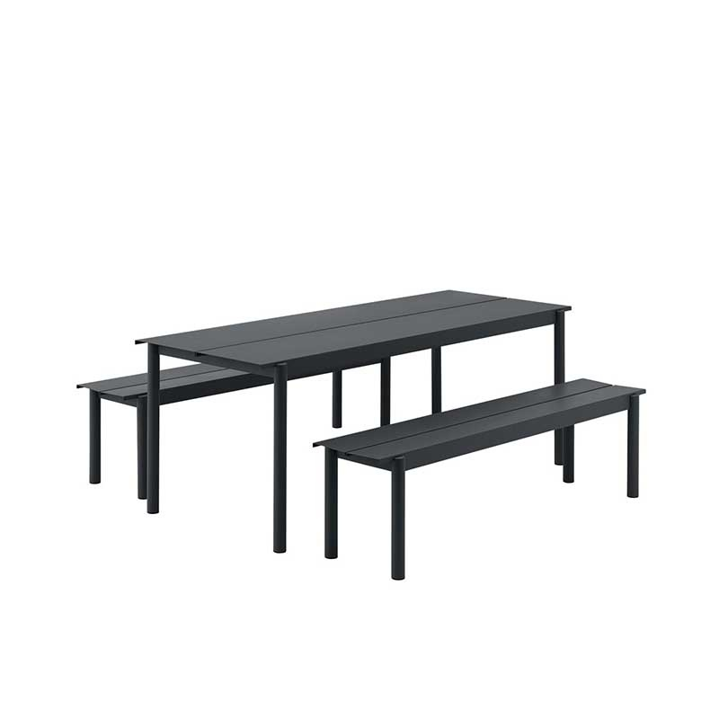 Muuto Linear tuinset tafel 140x75 + 2 banken 110x34