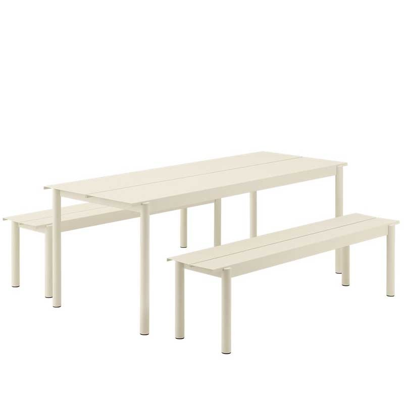 Muuto Linear tuinset table 200x80 + 2 banques 170x34