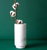 House Raccoon Vase - white marble