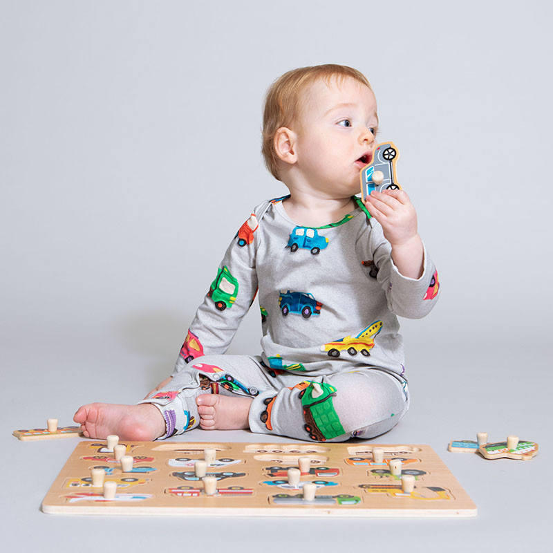SNURK beddengoed Jumpsuit baby clay cars
