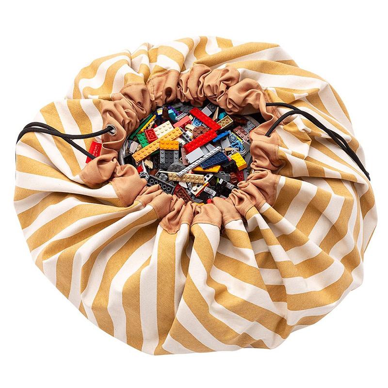 Play&Go Strepen mosterd opbergzak - speelmat