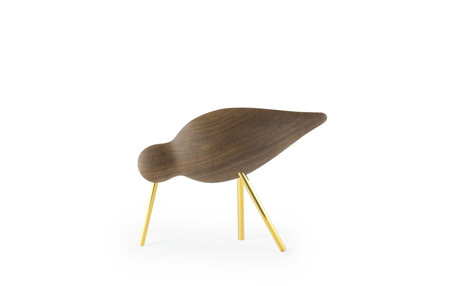 Normann Copenhagen shorebird walnoot/brass
