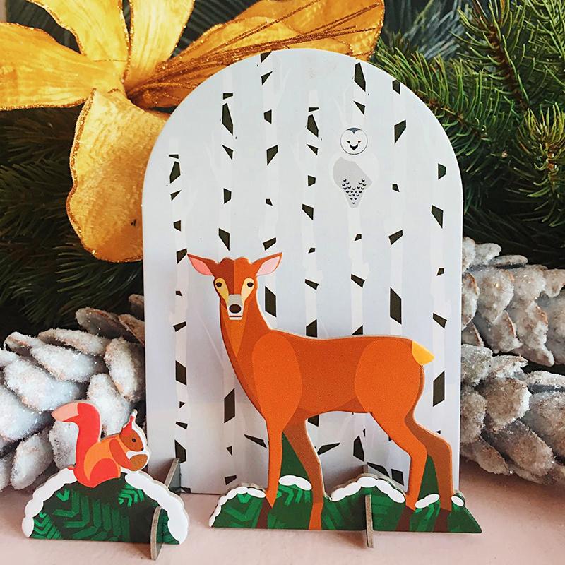 Studio Roof 3D puzzle/ carte postale cerf