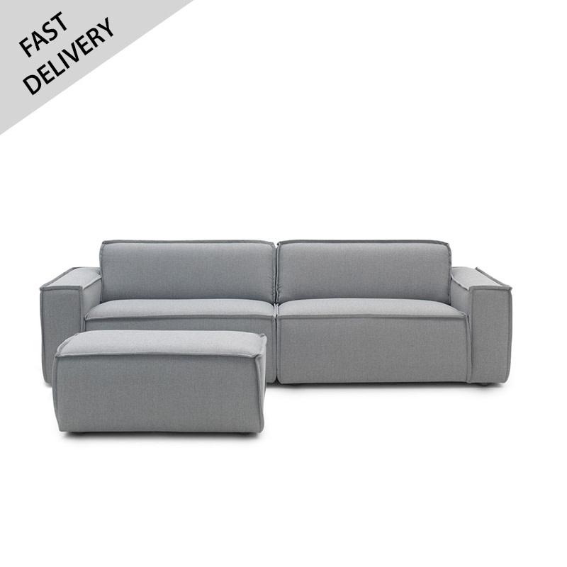 Fest Amsterdam Sofa Edge 3p + hocker SYDNEY 91 GREY