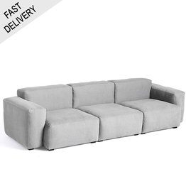 HAY Mags soft 3 seater combination 1 low armrest / Linara 443 / Light Grey stitching / FAST TRACK