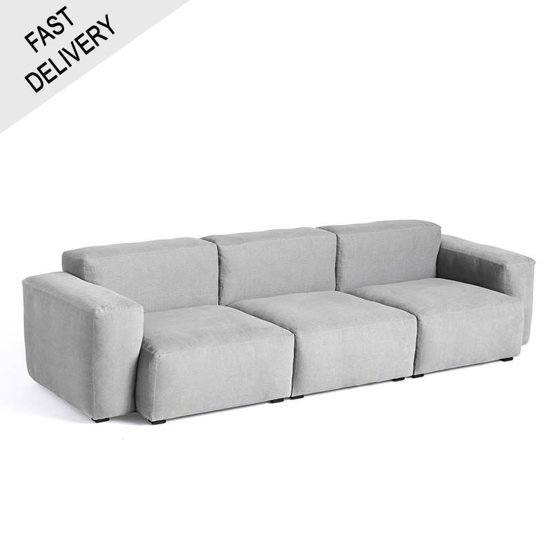 HAY Mags soft 3 seater combination 1 low armrest / Linara 443 / Grey stitching / FAST TRACK