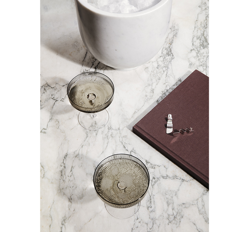 Fermliving Fermliving-Ripple Champagne glazen smoked (set van 2)