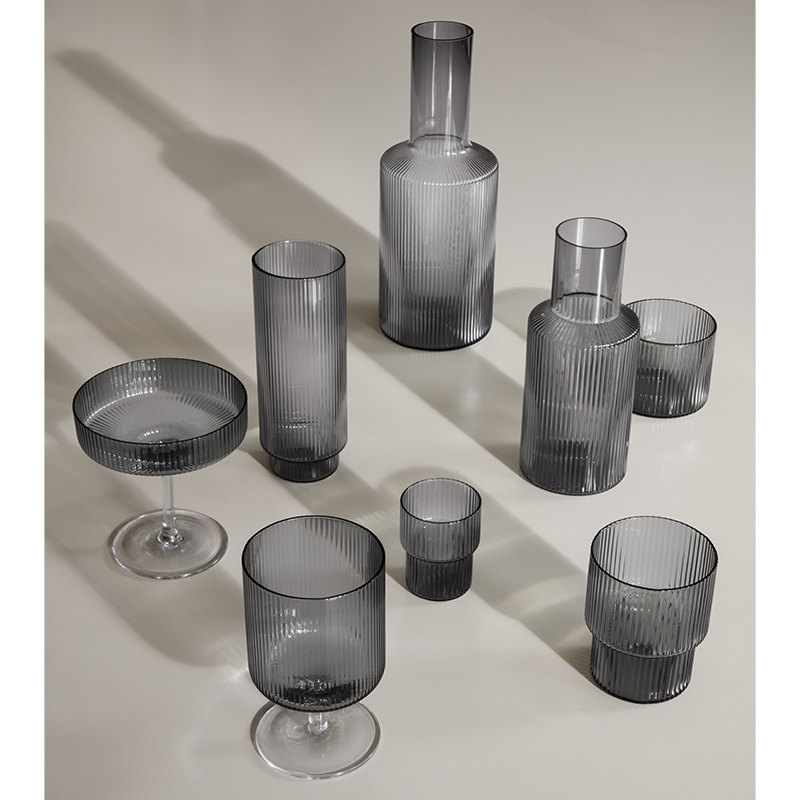Fermliving Fermliving-Ripple Glass smoked (set of 4)