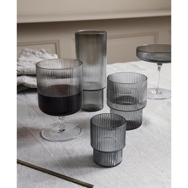 Fermliving Ripple wine glasses smoked (ensemble de 2)