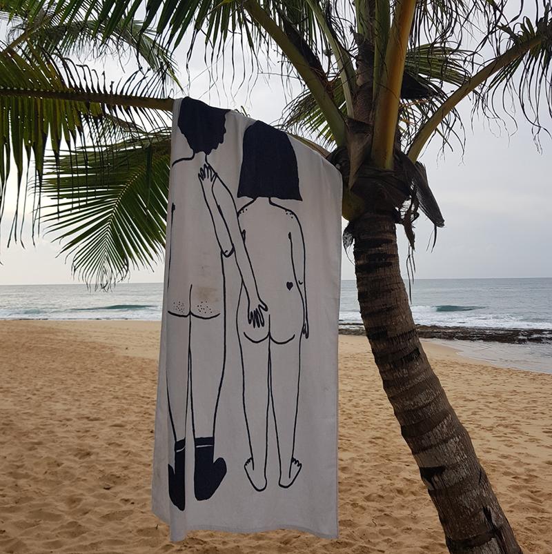 helen b Serviette de bain en coton - Naked Couple back
