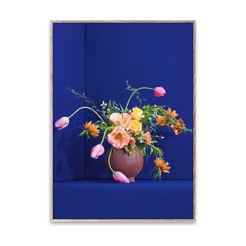 Paper Collective Blomst 01 / Blue Poster 30x40 - Paper Collective
