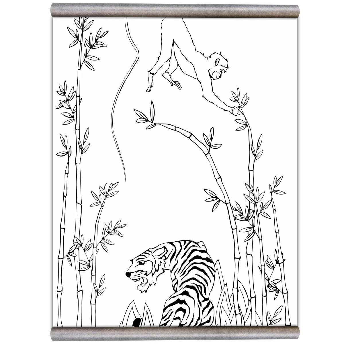 Groovy Magnets Wit magneetbehang jungleprint