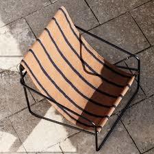 Fermliving Desert Lounge Chair - Frame Black / Stripes