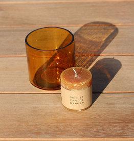 Zusss Set Theelichthouder amber & Stompkaars Honing - Zusss