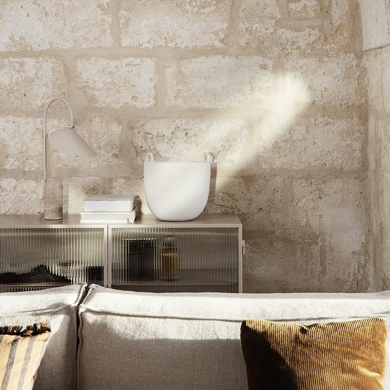 Fermliving Haze dressoir - figuurglas met streepjesmotief