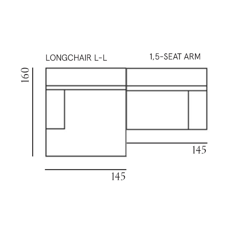 Fest Amsterdam Clay sofa -  longchair L arm left + 1.5seat arm right - Royal 56 petrol