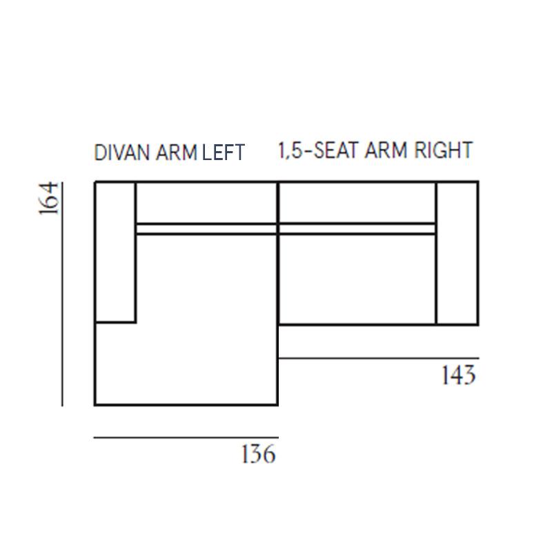 Fest Amsterdam Dunbar - Divan left + 1,5 seat arm right - Board 167
