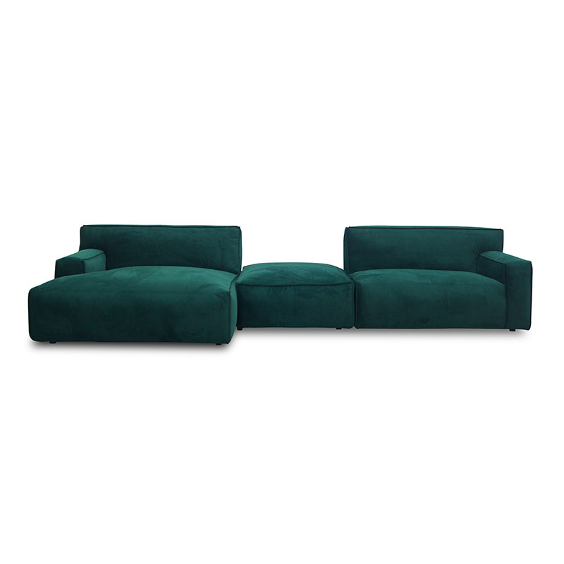 Fest Amsterdam Clay sofa - longchair L arm left + poef + 1,5-zits arm right - Juke 162 forest