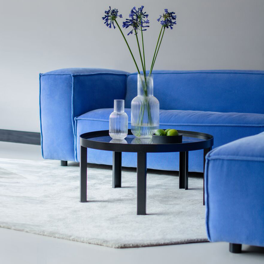 Fest Amsterdam Dunbar sofa 1.5 seat + longchair - cord 2.0 65 azure