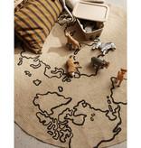 Fermliving Jute tapijt World  Ø130 cm- FERMLIVING