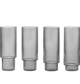 Fermliving Ripple long drinks glasses smoked (ensemble de 4)