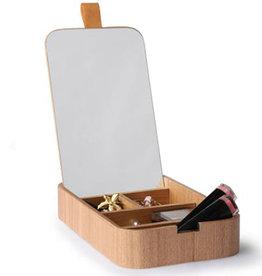 HKliving Boîte à bijoux en bois avec miroir