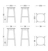 HAY Soft edge 32 tabouret  - lacquered oak frame