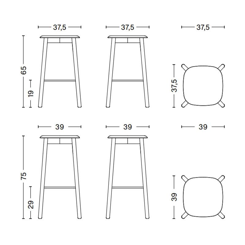 HAY Soft edge 32 barkruk -  lacquered oak frame