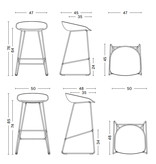 HAY AAS38 Barkruk - stainless steel frame