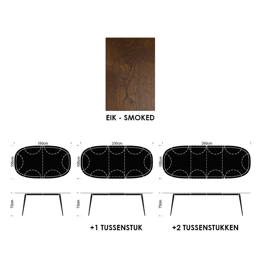 Bruunmunch Showroommodel SS21 PLAYdinner lamé eik smoked L180/280 (uitschuifbaar + 2 tussenstukken)